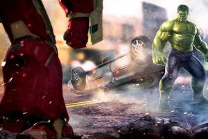 Hulk And Iron Hulkuster Fighting Artwork Wallpaper