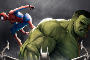 Hulk And Spider Man Art Wallpaper