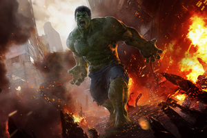 Hulk Doing Destruction Artwork Wallpaper