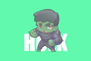 Hulk Minimal Chibbi 4k Wallpaper