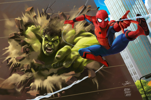 Hulk Vs Spiderman 4k Wallpaper