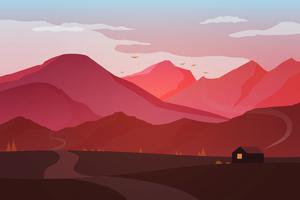 Hut House Landscape Minimal Early Morning 4k Wallpaper