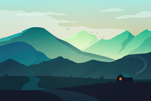 Hut House Landscape Minimal Morning 4k Wallpaper