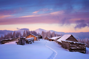 Huts Covered In Snow 4k Wallpaper