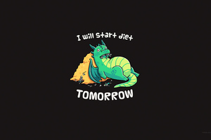 I Will Start Diet Tomorrow Funny Dragon 4k Wallpaper