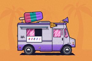Ice Cream Truck Minimal 4k Wallpaper
