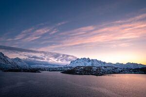 Ice Mountain Sea Clouds Arctic Polar