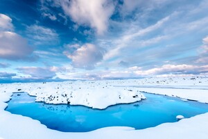 Iceland Snow Water Wallpaper