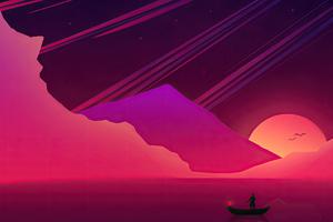 Illustration Landscape Boat 4k Wallpaper
