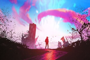 Illustration Sunset Fantasy Art Wallpaper