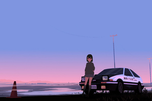 Initial D Trueno Anime Police Girl 8k Wallpaper