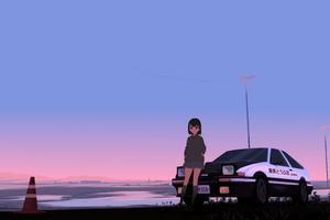 Initial D Trueno Anime Police Girl 8k