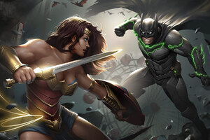 Injustice 2 Batman Wonder Woman Artwork Wallpaper