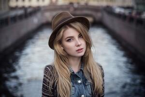 Irina Popova Hat Face Wallpaper