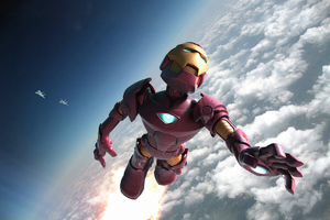 Iron Man Above Clouds
