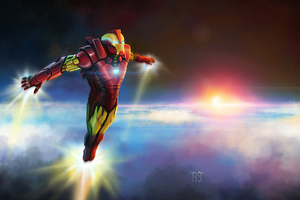 Iron Man Above Earth
