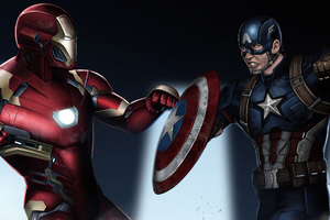 Iron Man And Captain America New Art Wallpaper