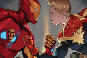 Iron Man And Captain Marvel Wallpaper