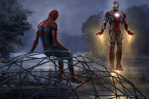 Iron Man And Spiderman 5k Artwork Wallpaper