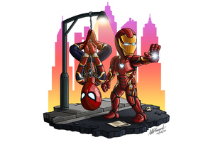 Iron Man And Spiderman Chibi Wallpaper