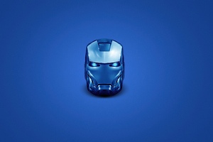 Iron Man Blue Helmet Minimal 4k