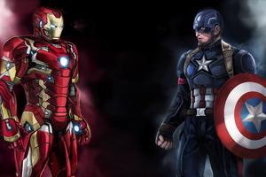 Iron Man Captain America 4k Art Wallpaper