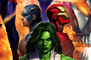 Iron Man Captain America She Hulk 4k Wallpaper
