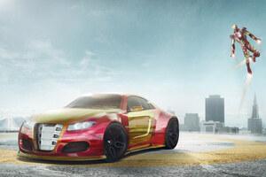 Iron Man Car 4k Artwork Wallpaper