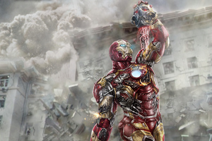Iron Man Chop Off Ultron Head