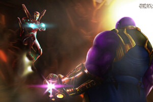 Iron Man Fighting Against Thanos