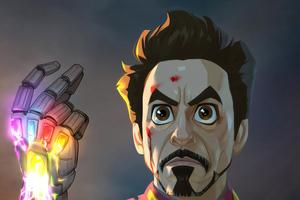 Iron Man Gauntlet Cartoon Art Wallpaper