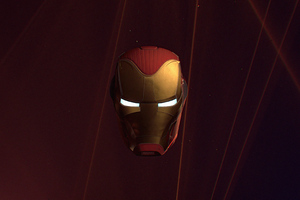 Iron Man Helmet Glowing Eyes 4k