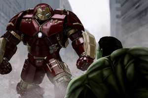 Iron Man Hulkbuster VS The Hulk 4k Artwork