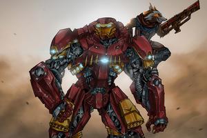 Iron Man In Hulkbuster Armor And Rocket Artwork Wallpaper