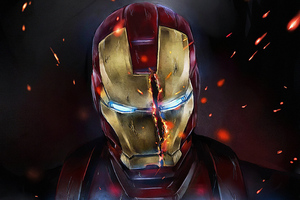 Iron Man Mask Split Wallpaper