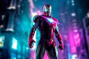 Iron Man Neon Art Wallpaper