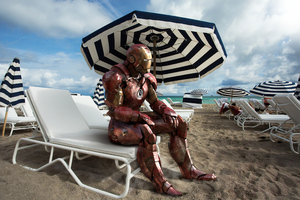 Iron Man On Beach Wallpaper