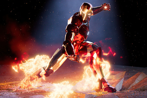 Iron Man On Fire 4k