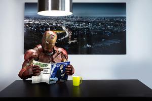 Iron Man Reading Magazine Wallpaper