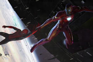 Iron Man Saving Spider Man Wallpaper