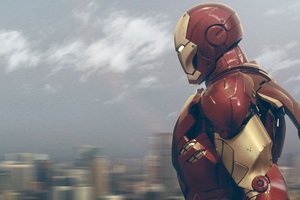 Iron Man Seeing City Wallpaper