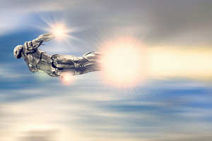 Iron Man Silver Suit Flying 4k
