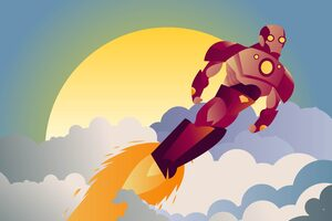 Iron Man Sunset Clouds Minimalist Wallpaper