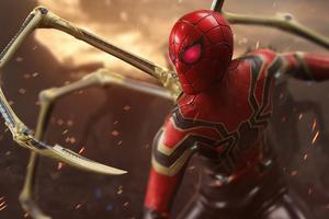 Iron Spider Red Eyes 5k Wallpaper