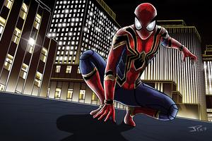 Iron Spider Suit In Avengers Infinity War Artwork Wallpaper