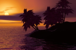 Island Palm Sunset Sky