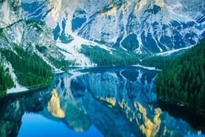 Italian Mountains Lake Reflection 4k