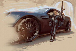 James Bond Car Art Wallpaper