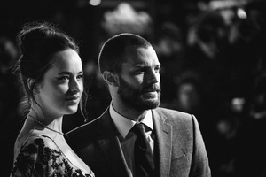 Jamie Dornan And Dakota Johnson Monochrome Wallpaper