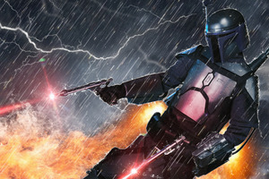 Jango Fett Jetpack Action Wallpaper